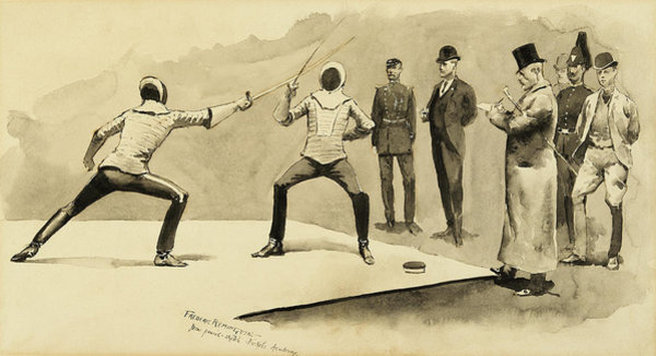 1-fencing-at-dickels-academy-frederic-remington