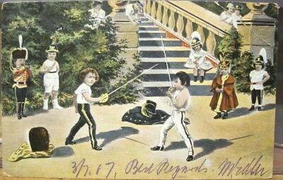 Vintage-Art-Postcard-Children-Sword-Fight-Fencing-Battle